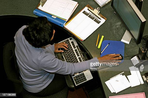 woman at work from above - ergonomics stock photos and pictures