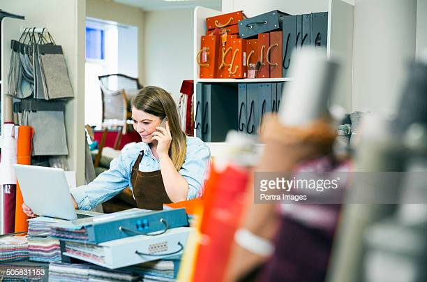 Woman at work in  small business.