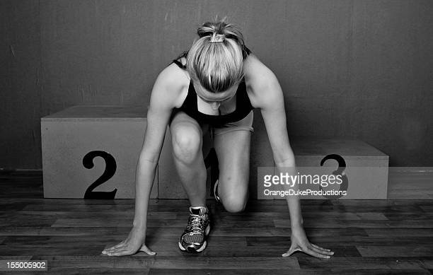 woman athlete ready to go - winners podium stock pictures, royalty-free photos & images