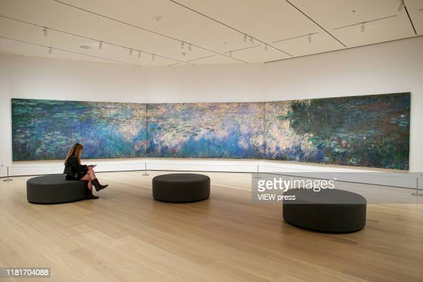 A woman attend a media preview as she sets by the u2018Weu2019d have a revolution if we took down Water Liliesu2019 by Monet on the newlyexpanded...