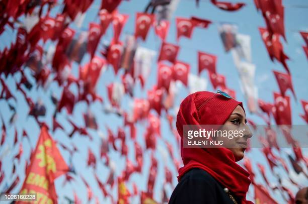 A woman attends a rally during the World Peace day on September 2 at Bakirkoy district in Istanbul