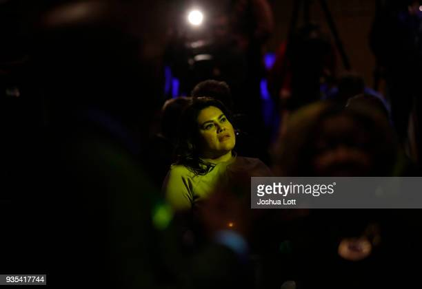 A woman attends Democratic governor candidate JB Pritzker's primary election night event on March 20 2018 in Chicago Illinois Pritzker is challenging...