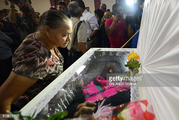 Woman attends the funeral of murdered indigenous activist Berta Caceres in La Esperanza, 200 km northwest of Tegucigalpa, on March 3, 2016. Caceres,...