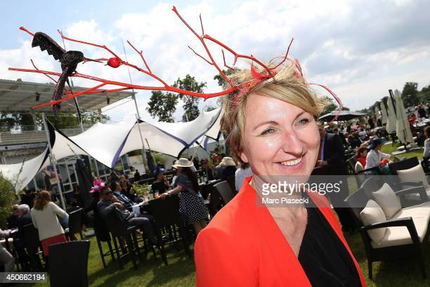 A woman attends the 'Prix de Diane Longines 2014' at Hippodrome de Chantilly on June 15 2014 in Chantilly France