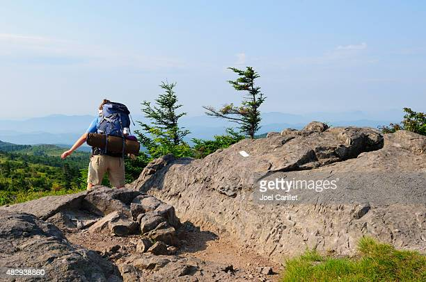 woman backpacking in grayson highlands state park, virginia - appalachian trail stock pictures, royalty-free photos & images