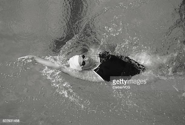 Woman Backstroke Swimming