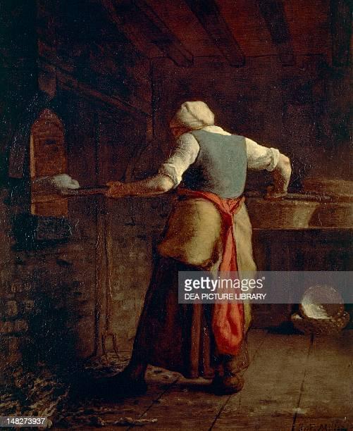 Woman baking bread by JeanFrancois Millet 55x46 cm Otterlo Rijksmuseum KrollerMuller
