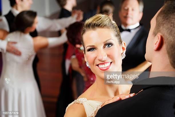 woman ballroom dancing - gewalt stockfoto's en -beelden