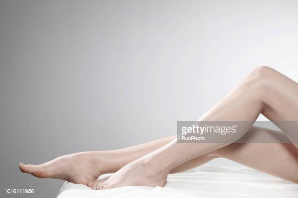 Woman barefoot legs
