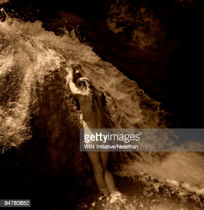 Woman Bathing Under A Waterfall Rishikesh Dehradun ...