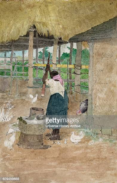 Woman beating cassava Jamaica by William Berryman active in Jamaica during the period 18081816 Watercolour and grey ink of rear view of black woman...