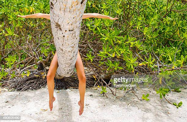 Woman behind a palmtree at white sandy Banana Beach on September 27 2015 in La Passe La Digue Seychelles