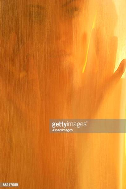 woman behind sheer fabric - tela transparente fotografías e imágenes de stock