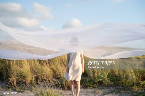 woman behind white veil - sheer fabric stock pictures, royalty-free photos & images