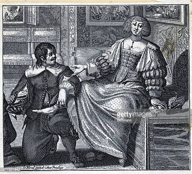 Woman being fitted for shoes ca 1640 Engraving