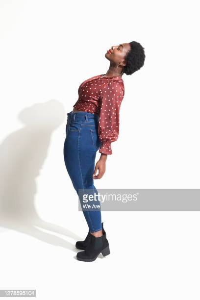 woman bending backwards - polka dot stock pictures, royalty-free photos & images