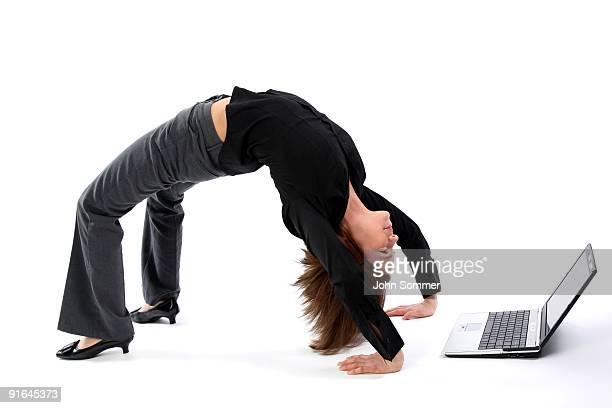 Woman bending over backwards