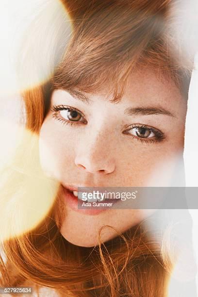 woman between lens flares