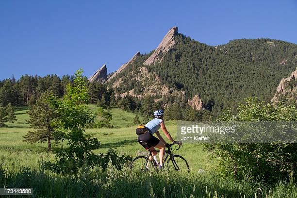 Woman biking at Chautauqua Park