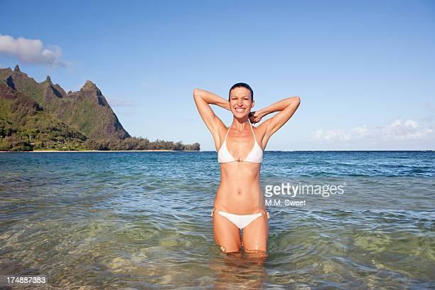 woman bikini kauai beach