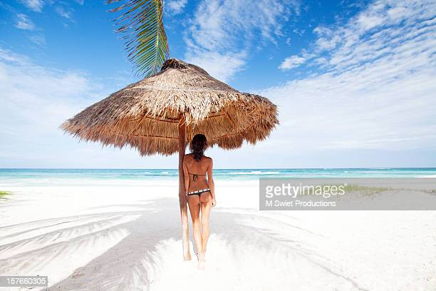 woman bikini - mayan riviera stock photos and pictures