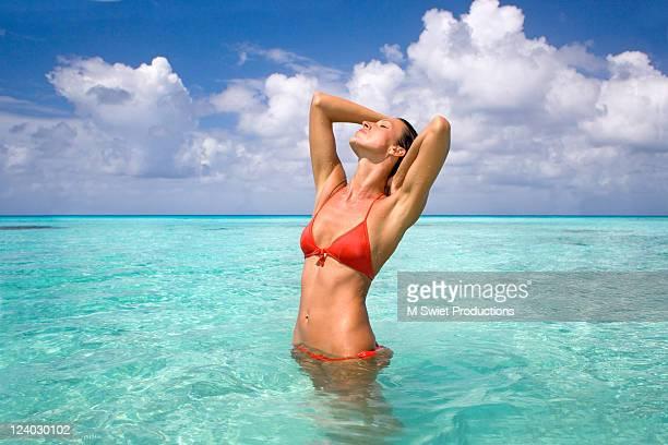 woman bikini sensual - beautiful polynesian women stock photos and pictures
