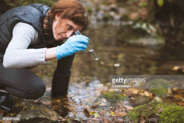 woman biological researcher looking at water sample - environmentalist stock pictures, royalty-free photos & images