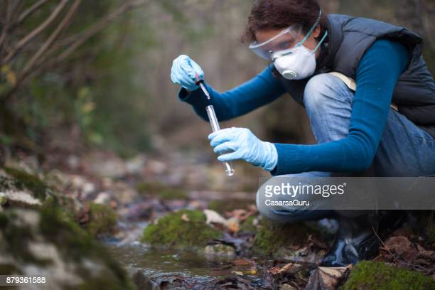 woman biological researcher taking a water sample - environmentalist stock pictures, royalty-free photos & images