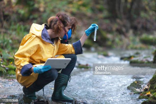 woman biologists checking water purity - biologist stock pictures, royalty-free photos & images