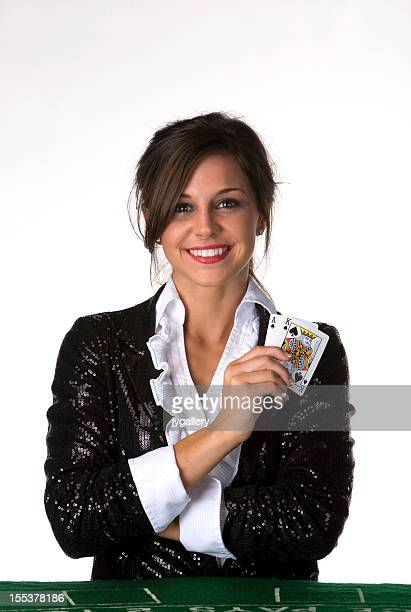 Woman blackjack dealer