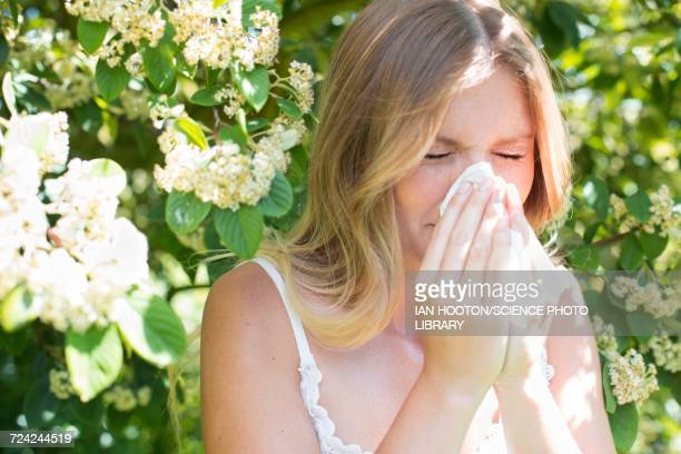 woman blowing nose on tissue - allergies stock photos and pictures