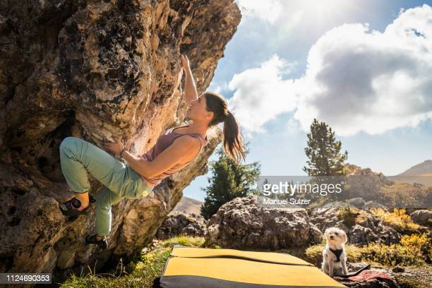 woman bouldering with her dog watching, città dei sassi or steinerne stadt, dolomites - forza italia foto e immagini stock