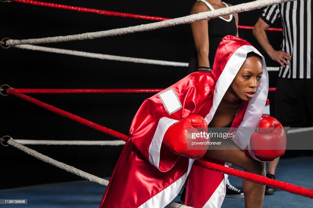 Woman Boxer Entering the Ring : Stock Photo