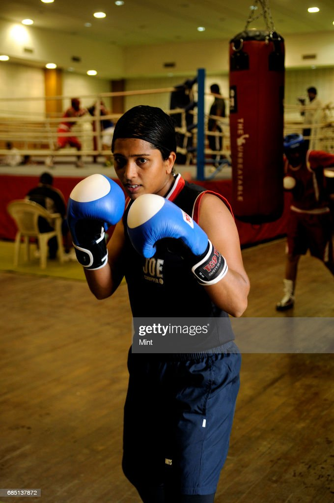 Woman boxer Usha Nagisetty at training at the Netaji Subhas National Institute of Sports Patiala