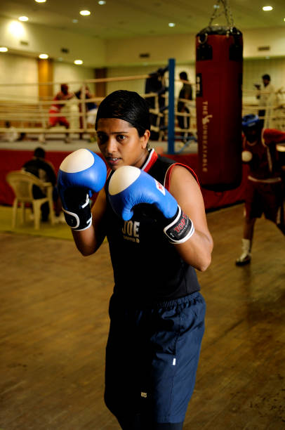 Woman boxer Usha Nagisetty at training at the Netaji Subhas National Institute of Sports Patiala