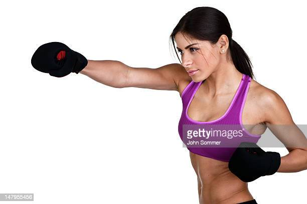 woman boxing - mixed boxing stock photos and pictures