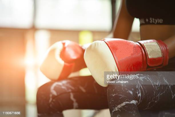 Woman boxing workout in the gym.