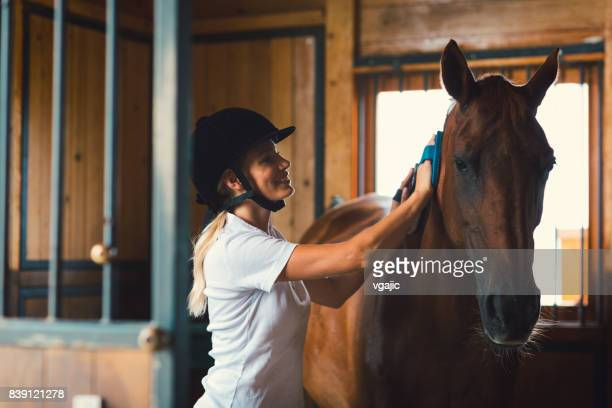 Woman brushing her horse