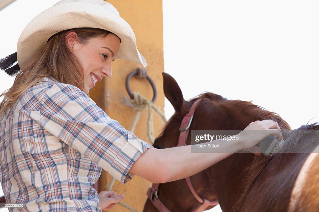Woman brushing horse's hair : Stock Photo