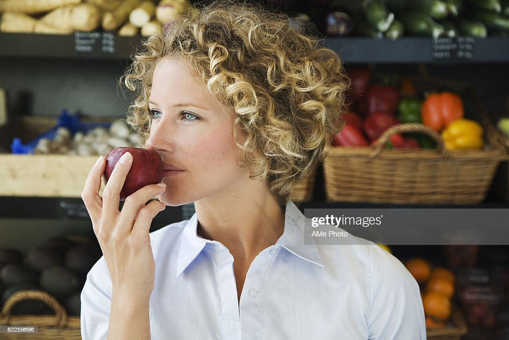 A woman buying food Sweden. : Stock Photo