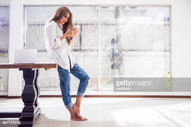 Woman buying shopping from home