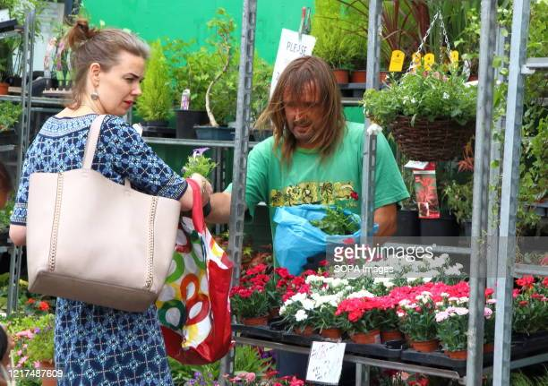 Woman buys some plants at a gardening vendor's stall during the market day The UK Government has allowed outdoor markets to reopen Bedford Charter...