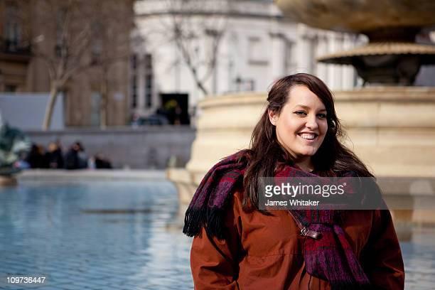 A Woman by Trafalgar Square fountains