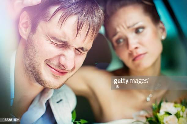 Woman calms a young man