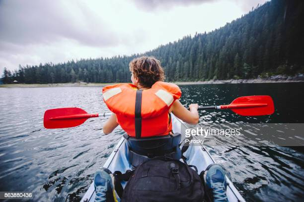 Woman canoeing in the lake