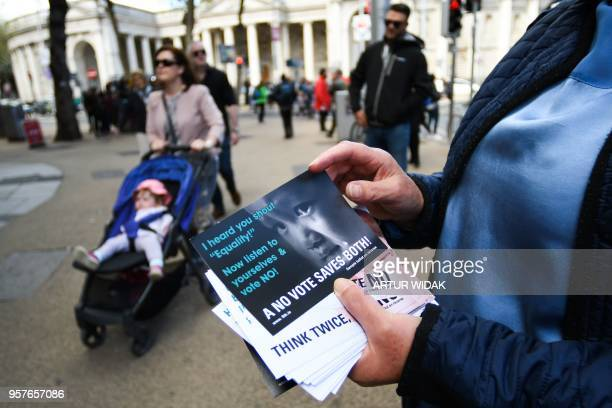 Woman canvasing for a 'no' vote in the upcoming referendum on whether to repeal the eighth amendment of the Irish constitution, a subsection that...