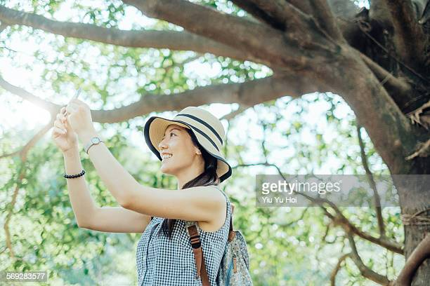 woman captures the beauty of nature by smartphone - yiu yu hoi stock pictures, royalty-free photos & images