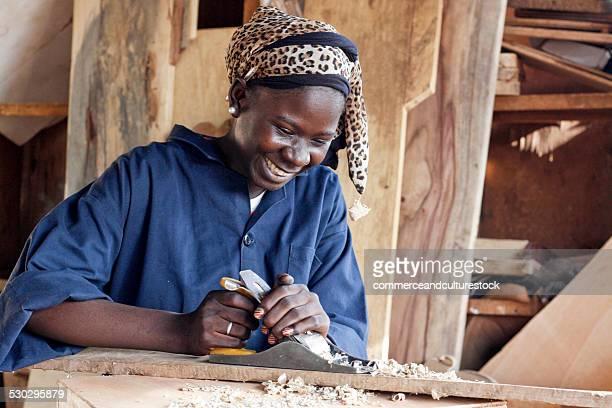 A woman carpenter working