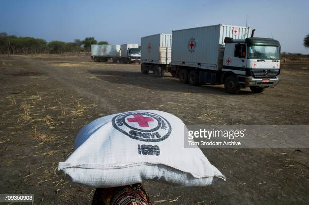 A woman carries a bag home during an International Committee of the Red Cross distribution of seeds agricultural tools and food staples to households...