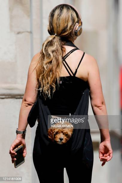 Woman carries a puppy in a sling-bag as she walks along Whitehall in central London on May 20 as lockdown mwasures are eased during the novel...
